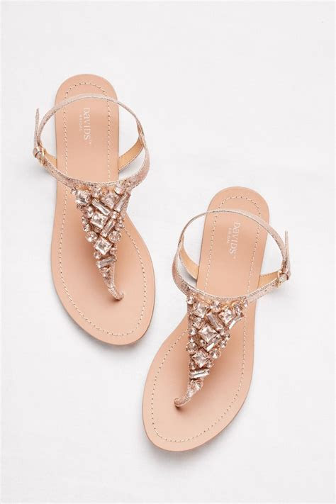 Jeweled Rose Gold Metallic Ankle Strap Thong Sandals by