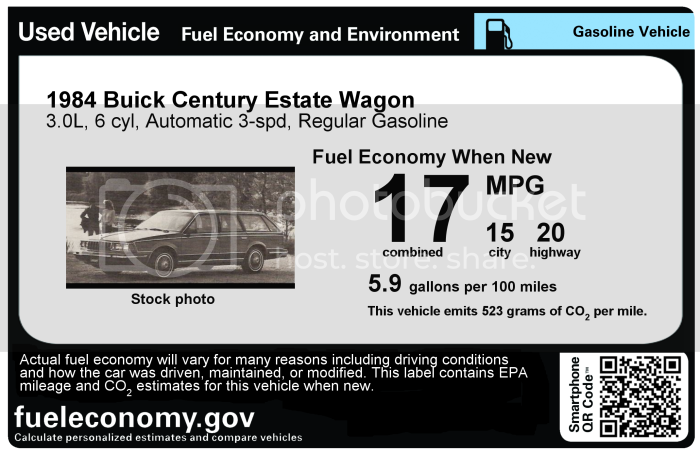 1984 Buick Century Estate Wagon label