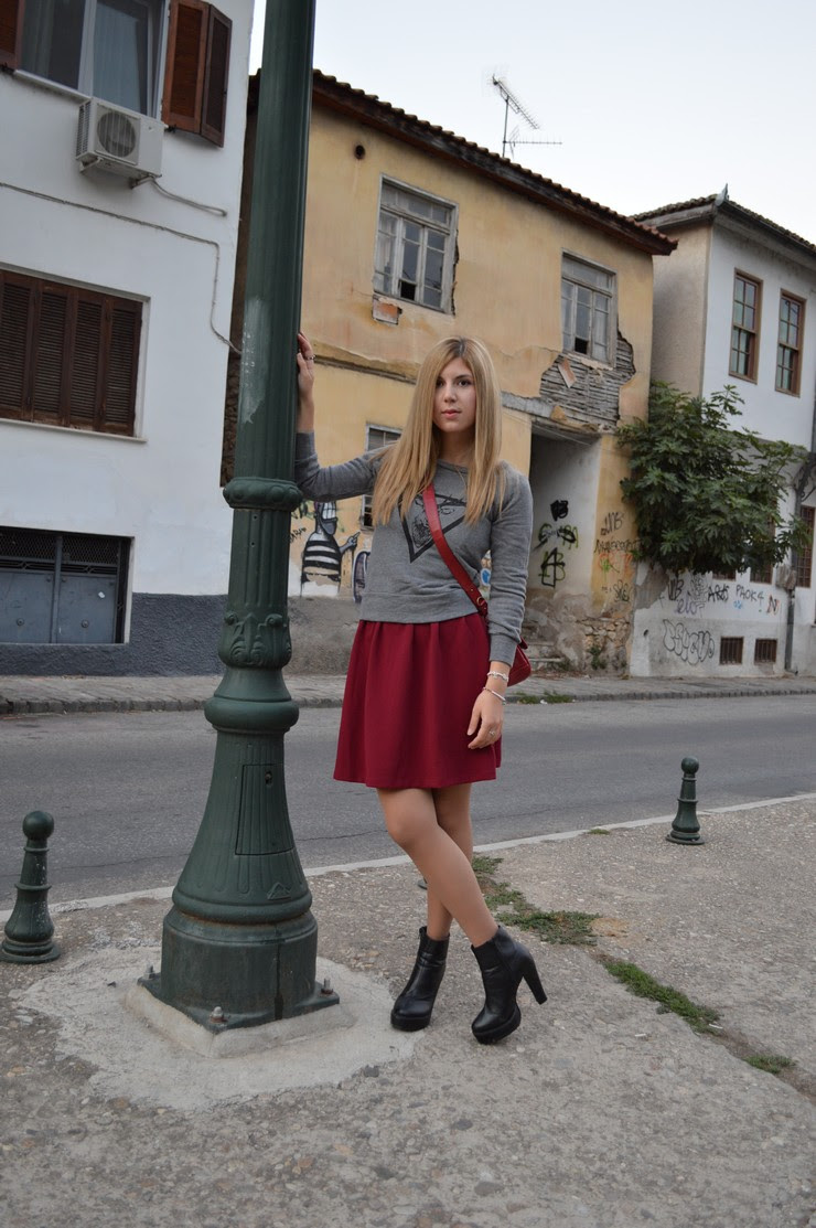burgundy dress grey sweater1