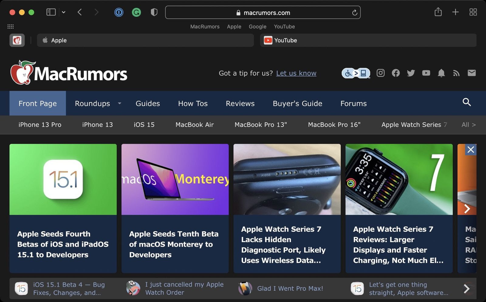 Apple Releases macOS Big Sur Safari 15.1 Beta With Relocated Favorites Bar