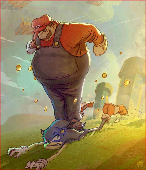 justinrampage:  Sonic was safe until he decided to grab up gold coin in Mario's Mushroom Kingdom. Hilarious piece by artist Coran Stone. Related Rampages: The Big Guns | Meet Mr. Wilson (More) Game Stops Now by Coran  Stone (deviantART) (CGHUB) (Twitter)