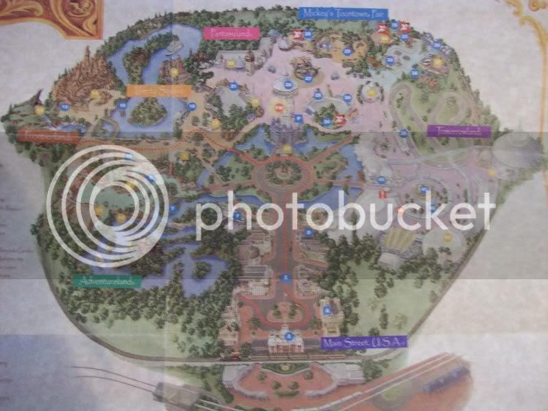 walt disney world magic kingdom map. Closeup of Magic Kingdom map:
