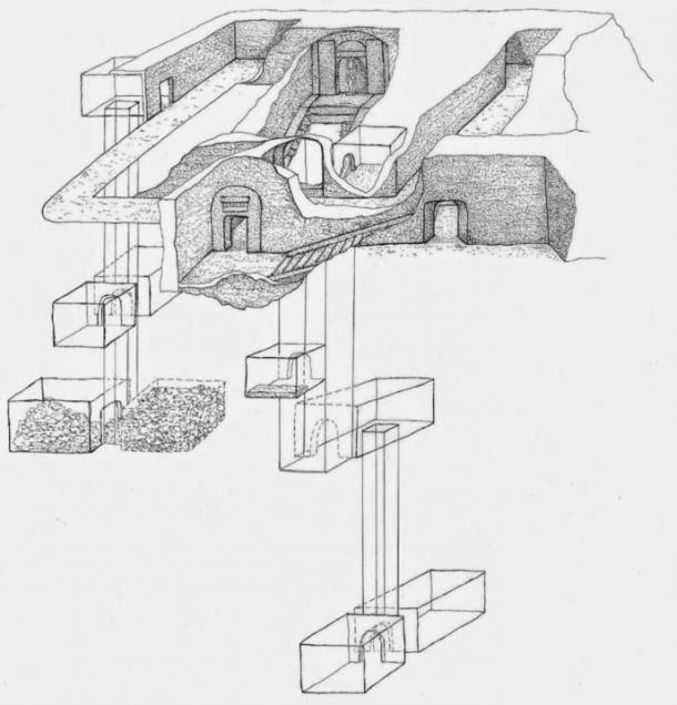 Sketch che mostra la sagoma della tomba di Osiride