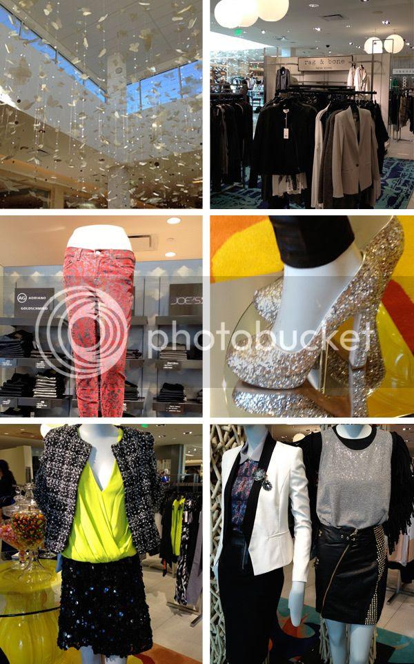 Cusp Neiman Marcus Topanga, Rag & Bone blazers, J Brand velvet brocade jeans, silver glitter pumps, Alice and Olivia tweed jacket