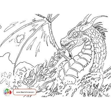 fire breathing dragon coloring pages for kids