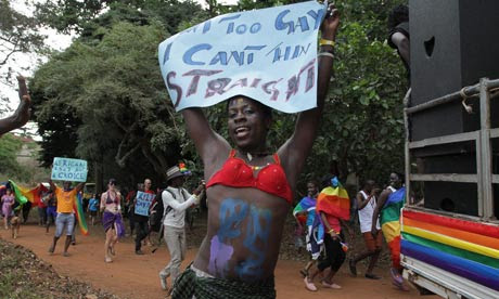 An activist at Uganda's first gay pride parade in Kampala this August. Photograph: Rachel Adams/EPA