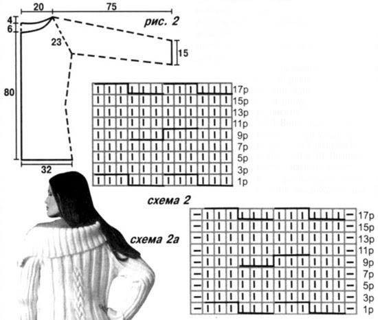 Knit knitting needles coat.  Three models (7) (550x466, 115Kb)