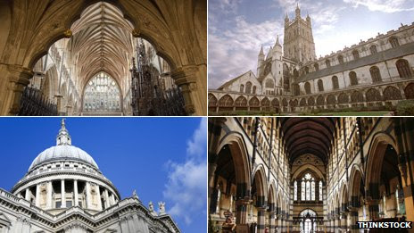 (Clockwise) Vaulted ceiling of Exeter Cathedral; Gloucester Cathedral; St Paul's Cathedral in Melbourne, Australia; St Paul's Cathedral in London