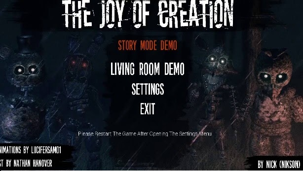 The Joy Of Creation Story Modees un juego de terror y de sustos inspirado en Five Nights at Freddy's (es un fanmade game) en el que debes enfrentarte a Freddy's de una forma totalmente diferente.