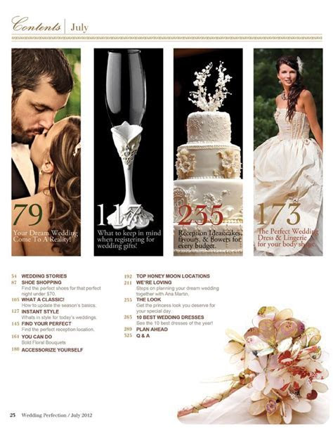 Wedding Magazine Table of Contents Page Sample