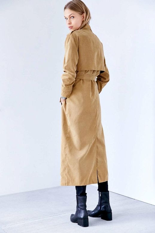 Le Fashion Blog Longline Taupe Trench Coat Dark Wash Jeans Point Toe Ankle Boots Via UO