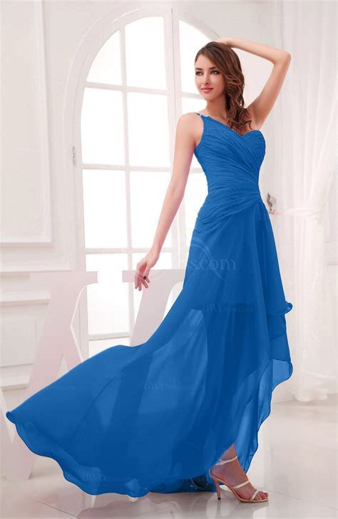Royal Blue Romantic Asymmetric Neckline Chiffon Hi Lo