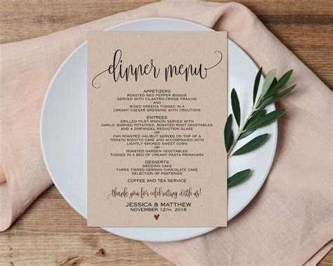 Dinner Menu, Wedding Menu, Printable Wedding Menu, Wedding