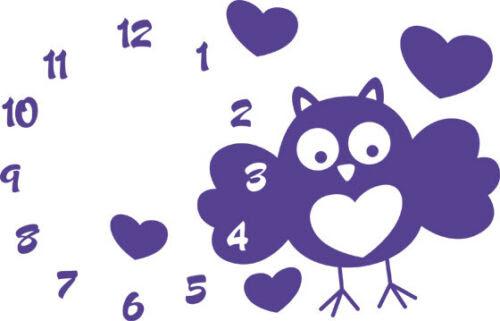 Wandtattoos Wandbilder Wandtattoo Uhr Mit Uhrwerk Wanduhr Eule Mit Zahlen Kinderzimmer Mobel Wohnen