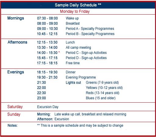 Sample Daily Summer Camp Schedule - Village Camps - International ...