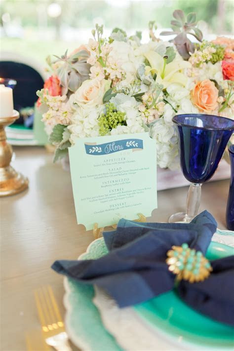 Eclectic Navy, Mint, & Peach Wedding Ideas   Every Last Detail