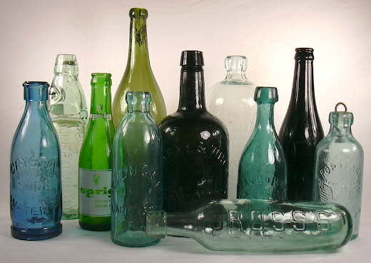 Grouping of soda/mineral water bottles dating from between 1850 and 1940; click to enlarge.
