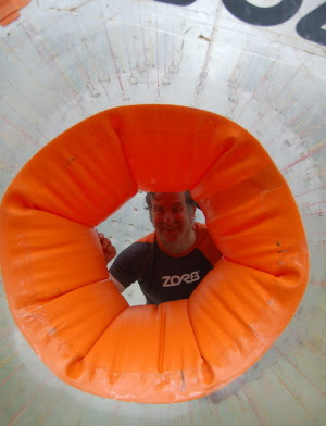 Mike inside the zorb ball