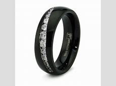 Stainless Steel Cubic Zirconia Channel Set Mens Black Wedding Band Ring 7MM   eBay