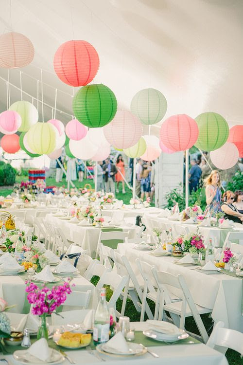 Paper lanterns for an outdoor wedding reception