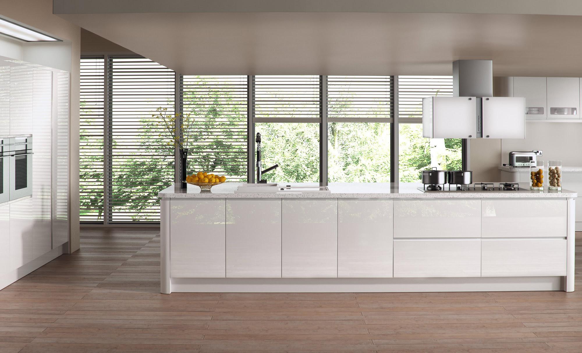 modern contemporary strada gloss white kitchen hero