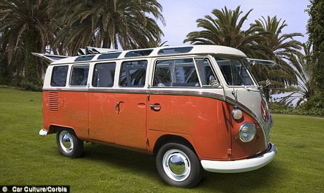 Riding high: Obama, who was known for creating marijuana inhaling techniques while at high school, drove with his friends in the Choomwagon, a VW microbus like that pictured