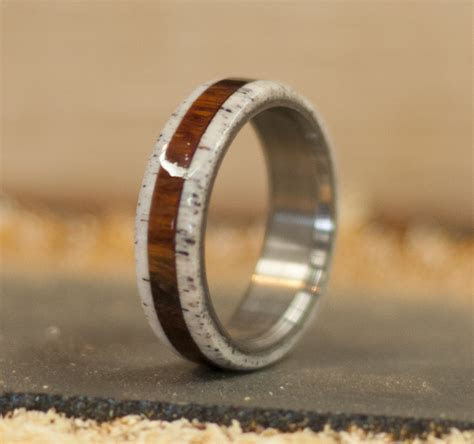 IRONWOOD & ANTLER WEDDING BAND (available in titanium