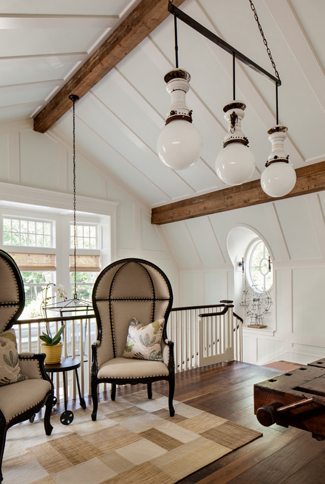 Foyer Ceiling. Vaulted Ceiling. Foyer Vaulted Ceiling. Shingle home foyer with vaulted ceiling and landing area above stairway. #Vaulted #Ceiling #Foyer Wade Weissmann Architecture.