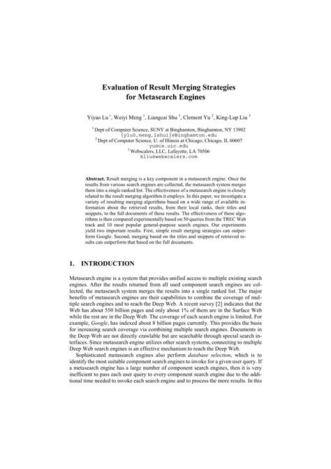 (PDF) Evaluation of Result Merging Strategies for