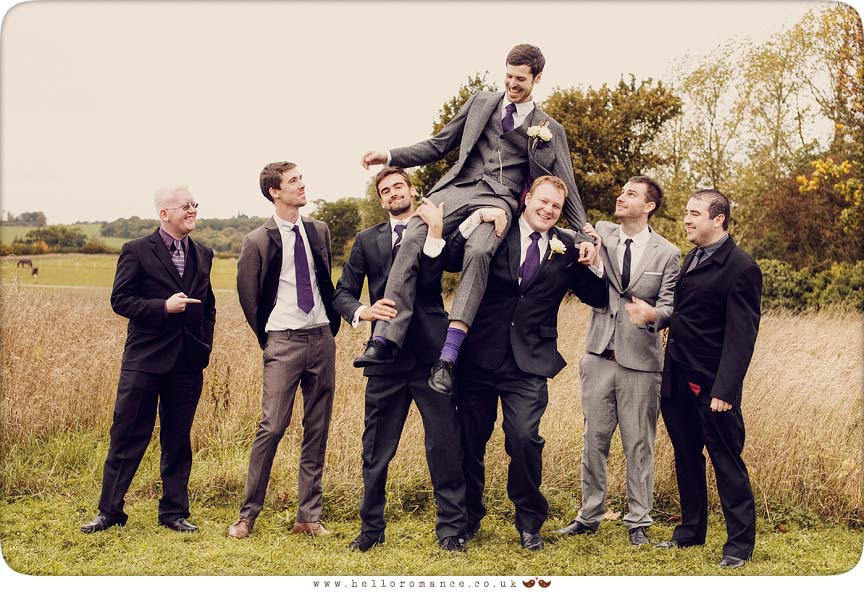 Groom and Boys messing around - Hello Romance