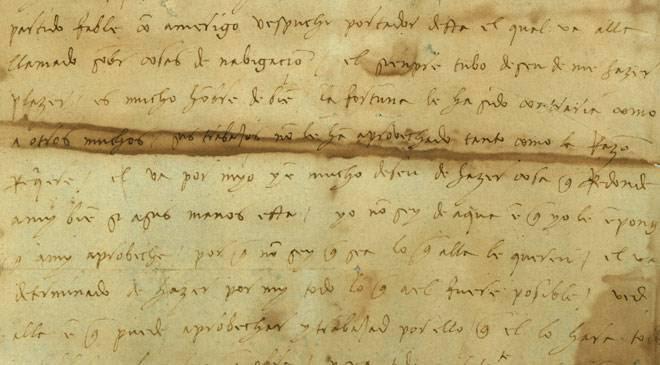 Carta autógrafa de Cristóbal Colón a su hijo Diego. Archivo general de las Indias ©Ministerio de Cultura