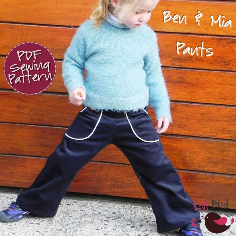Ben & Mia Pants with Pockets for Boy and Girl - 12 months to 6 years - PDF Pattern and Instructions