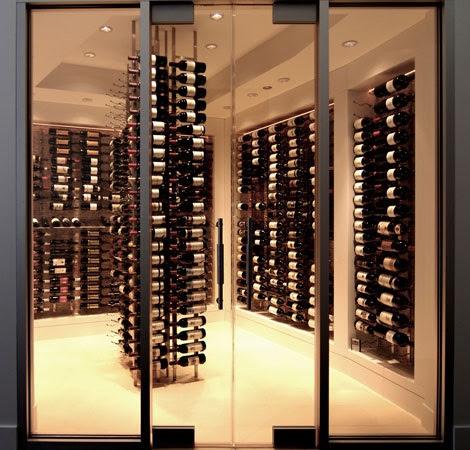 Contemporary Wine Cellar Display Using Vintage View Metal Racks