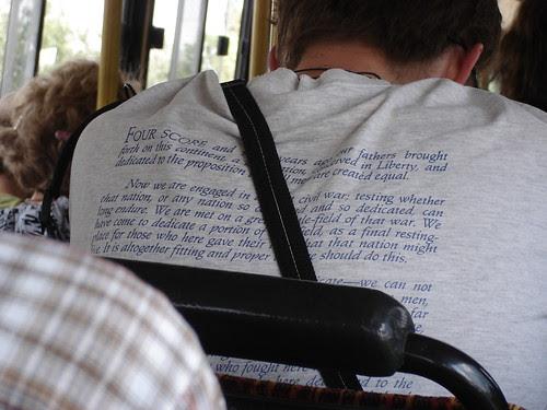 Gettysburg Address on a t-shirt