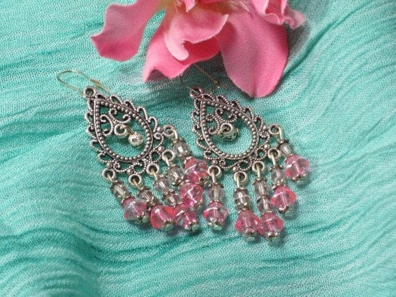 The Sighs of Your Heart - Pink and Silver Dangle Chandelier Earrings