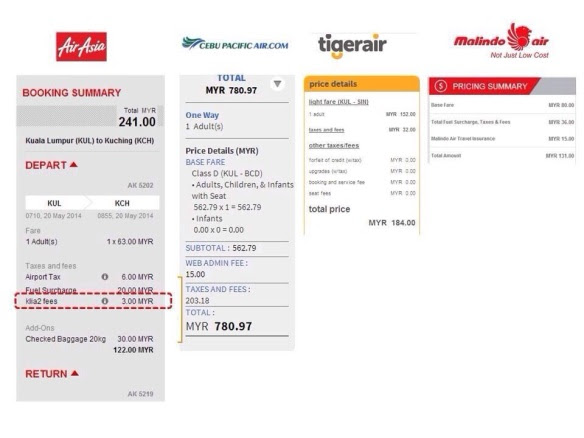 AirAsia imposes RM3.00 airport fees per passenger. Just look at the