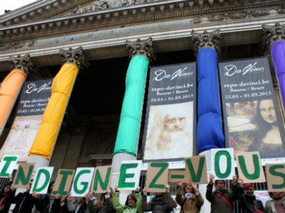 Manifestantes celebran el segundo aniversario del 15-M en Bruselas. MARÍA GONZÁLES RODRIGO