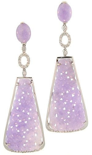 Carved Lavender Jade drop earrings