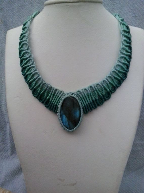 Macrame necklace turquoise blue labradorite gem by ARTofCecilia