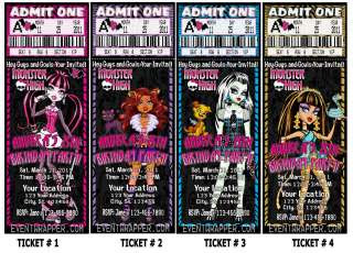 Monster High Birthday Party Invitations Passes Favors