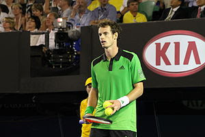 English: Murray collecting balls to serve to N...
