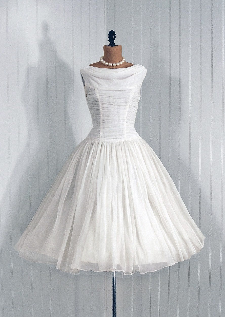 1950's Vintage Angelic-White Elegant Heavily-Ruched Flowing Chiffon-Couture Rockabilly Princess Backside Sash-Train Bombshell Circle-Skirt Wedding Party Cocktail Dress