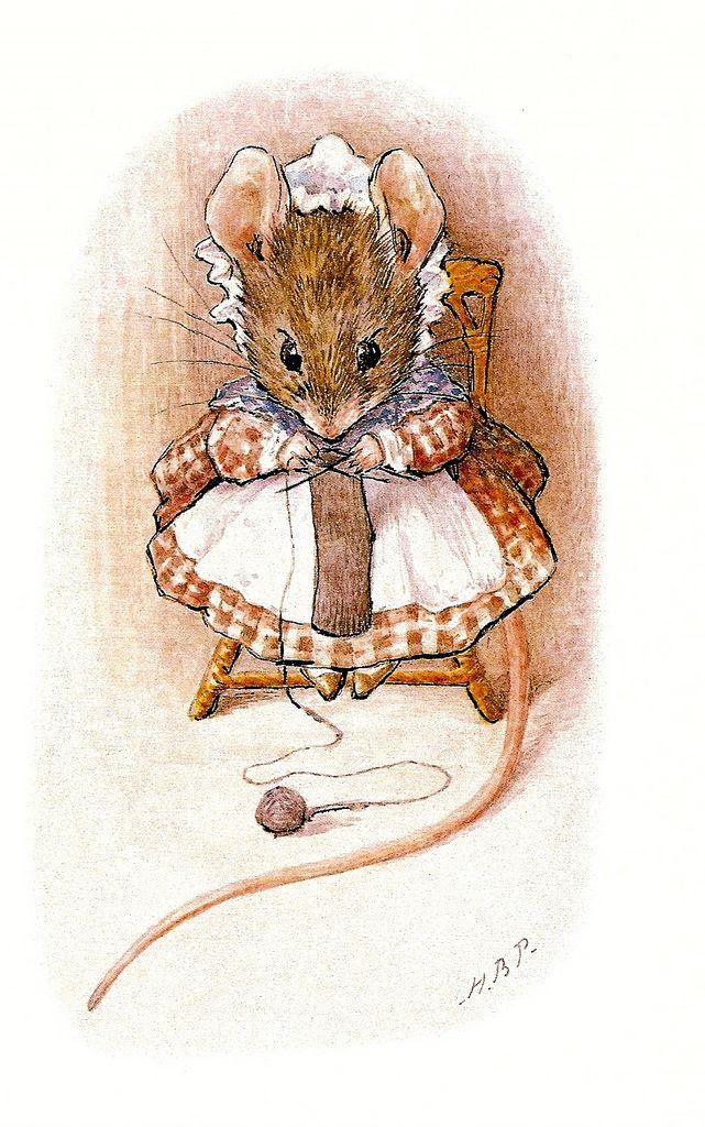 mouse knitting; Beatrix Potter