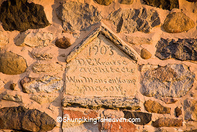 Architect and Mason Names on Historic Chase Stone Barn, Oconto County, Wisconsin