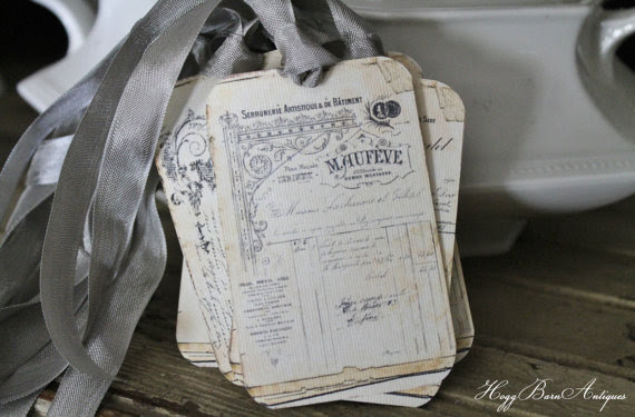 Vintage French Ledger Gift Tags