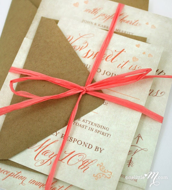 Rustic Sweet Coral Wedding Invitation Suite SAMPLE