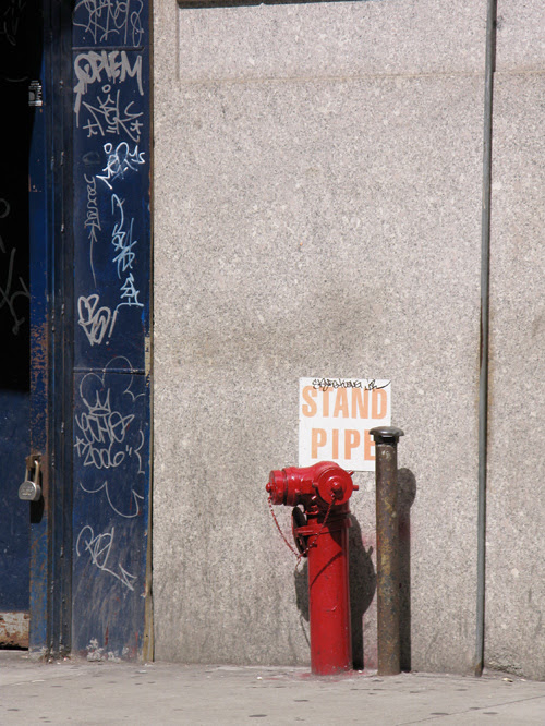a stand pipe on a Manhattan sidewalk, NYC