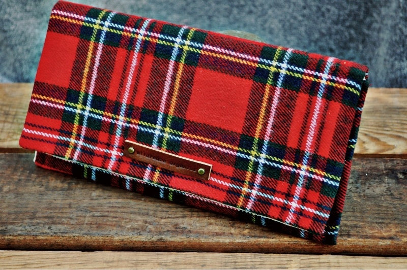 Clutch - Red Tartan Plaid - eco friendly wool and organic cotton