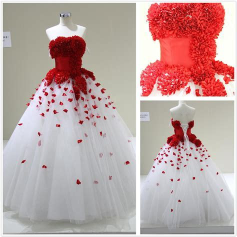 White Wedding Dress With Red
