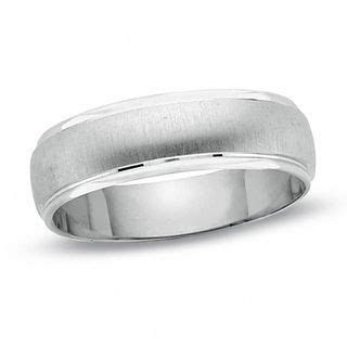 Men's Satin Finish Wedding Band in 14K White Gold with